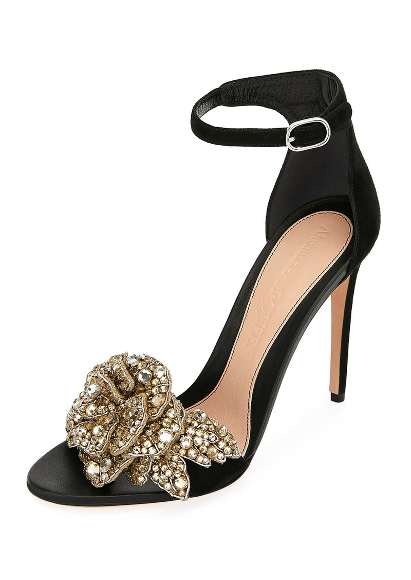 Alexander McQueen Suede High Sandals with Crystal Flower
