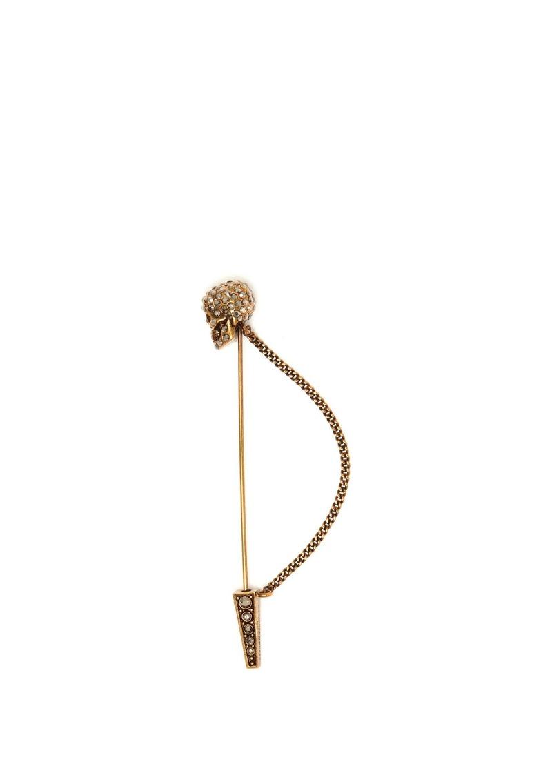 Swarovski-embellished skull pin brooch