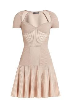 Alexander McQueen Sweetheart-neck short-sleeved wool-blend dress