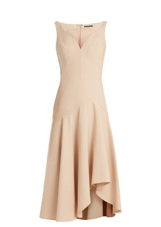 Alexander McQueen Sweetheart-neck wool and silk-blend cady dress