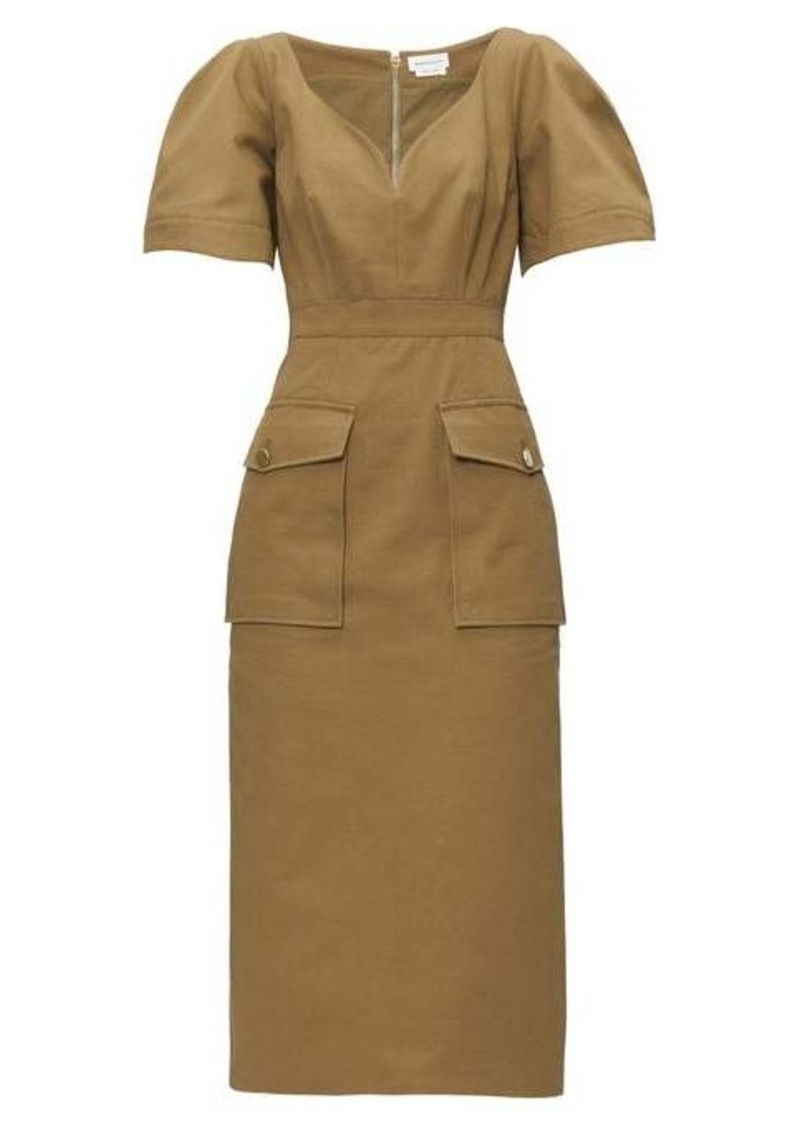 Alexander McQueen Sweetheart-neckline cotton-canvas midi dress