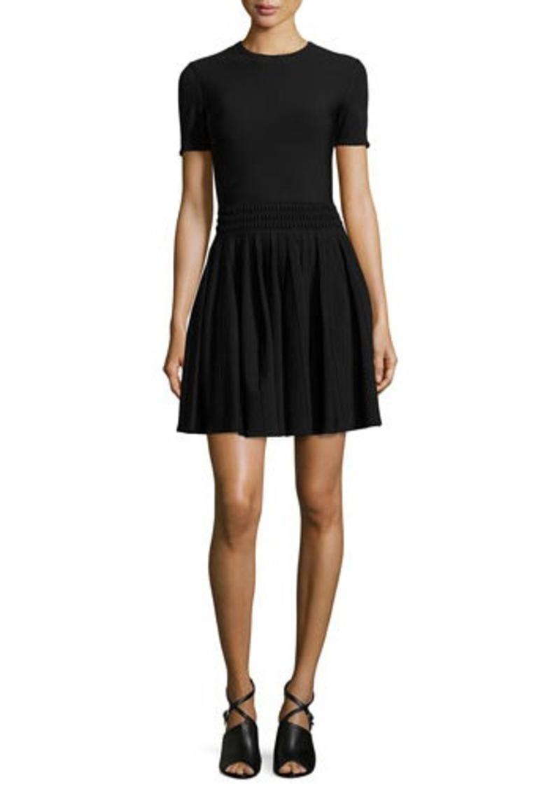 Alexander McQueen Textured-Waist Pleated Dress
