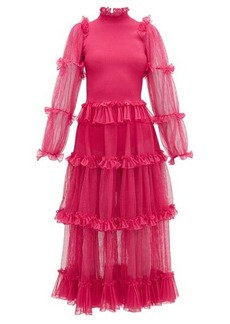 Alexander McQueen Tiered tulle and ribbed-knit dress