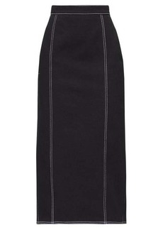 Alexander McQueen Topstitched pleated-back denim skirt