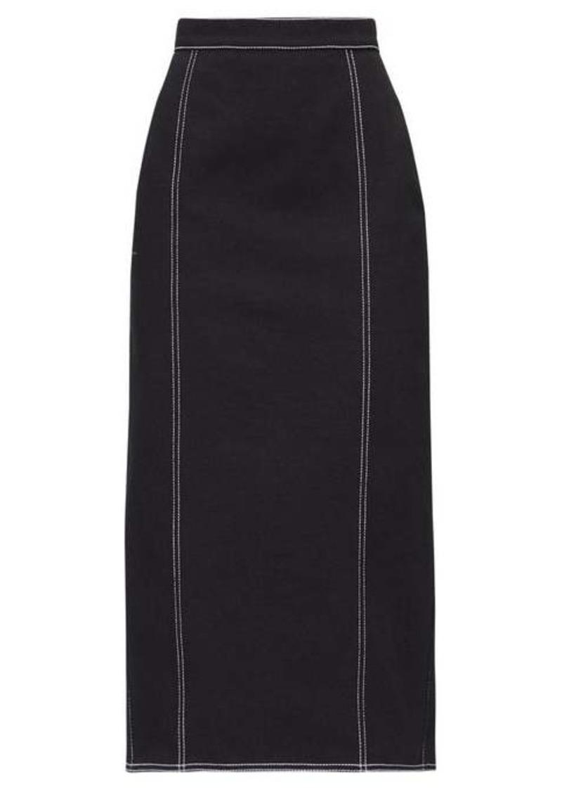 Alexander McQueen Topstitched pleated-back denim skirt