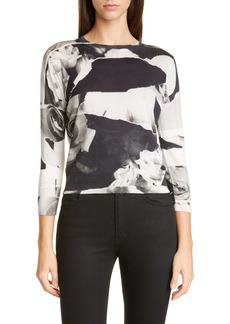 Alexander McQueen Torn Rose Print Wool & Silk Sweater