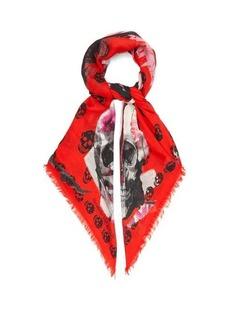 Alexander McQueen Torn Rose skull-print scarf