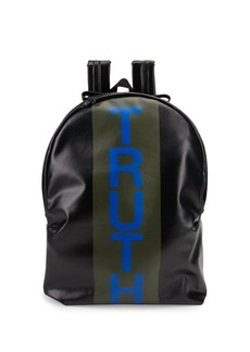 Alexander McQueen Truth Striped Canvas Backpack