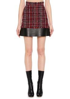 Alexander McQueen Tweed Mini Skirt w/ Leather Hem