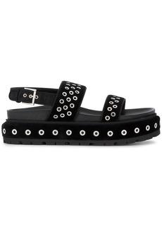 Alexander McQueen Two Strap Flatform Sandals - Black