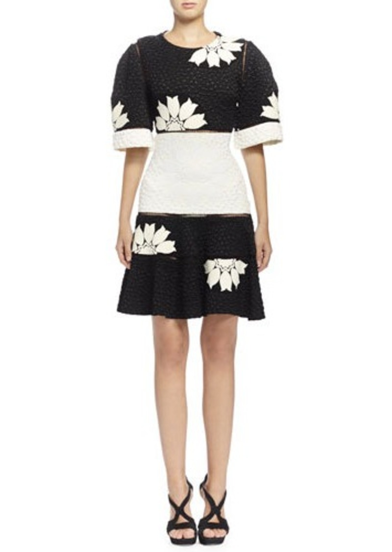Alexander McQueen Two-Tone Floral-Print Matelasse Dress