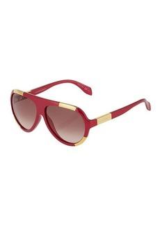 Alexander McQueen Two-Tone Plastic Aviator Sunglasses