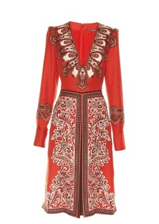 Alexander McQueen V-neck paisley-print dress