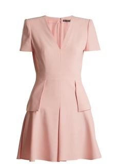 Alexander McQueen V-neck peplum-waist cady dress
