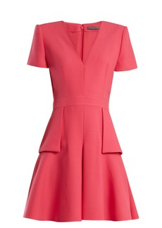 Alexander McQueen V-neck peplum-waist wool and silk-blend dress