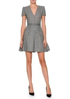 Alexander McQueen V-Neck Short-Sleeve Mixed-Plaid Dress