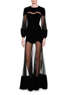 Alexander McQueen Velvet & Chiffon Long-Sleeve Gown