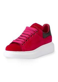 Velvet Low-Top Wedge Sneaker