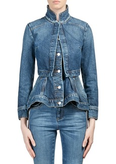Alexander McQueen Vintage Double Layer Denim Peplum Jacket