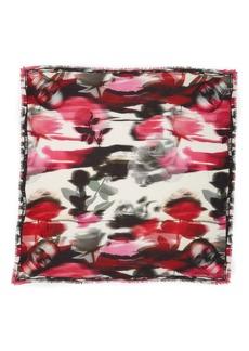 Alexander McQueen Warped Rose Modal & Wool Scarf