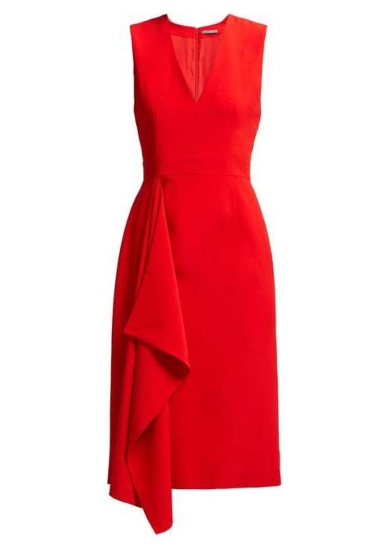Alexander McQueen Waterfall draped crepe midi dress