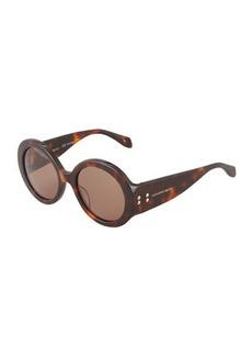 Alexander McQueen Wide Havana Sunglasses