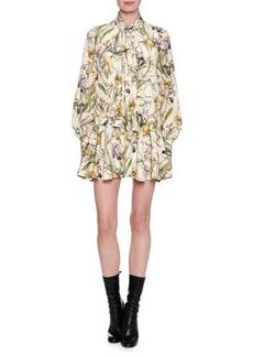 Alexander McQueen Wild Iris Crêpe de Chine Tie-Neck Minidress