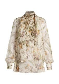 Alexander McQueen Wild Iris-print sheer silk-chiffon blouse