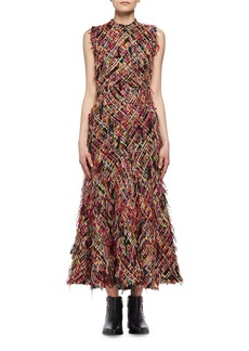 Alexander McQueen Wishing Tree Fringe Tweed Sleeveless Midi Dress