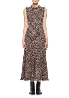 Alexander McQueen Wishing Tree Tweed Sleeveless Midi Dress