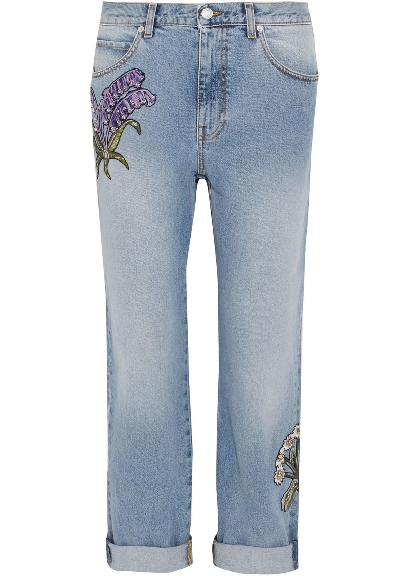 Alexander Mcqueen Woman Appliquéd Distressed Mid-rise Straight-leg Jeans Light Denim