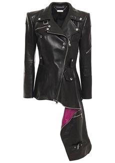 Alexander Mcqueen Woman Asymmetric Draped Leather Biker Jacket Black
