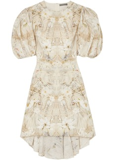 Alexander Mcqueen Woman Asymmetric Floral-print Silk Crepe De Chine Dress Ivory