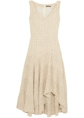 Alexander Mcqueen Woman Asymmetric Metallic Bouclé-tweed Midi Dress Ecru