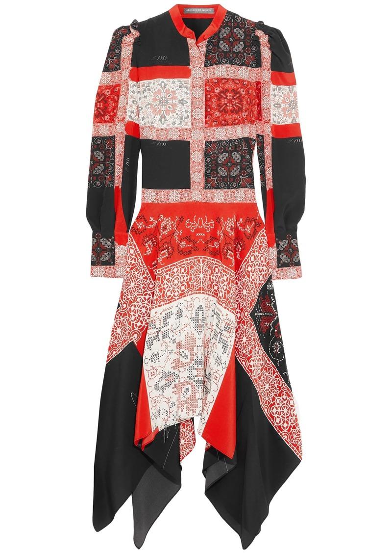 Alexander Mcqueen Woman Asymmetric Printed Silk Midi Dress Red