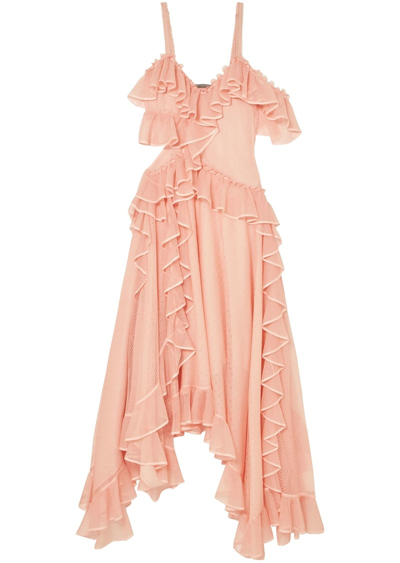 Alexander Mcqueen Woman Asymmetric Ruffled Pointelle-knit Silk Midi Dress Blush