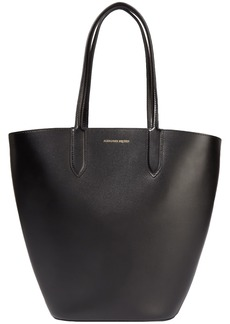 Alexander Mcqueen Woman Basket Leather Tote Black