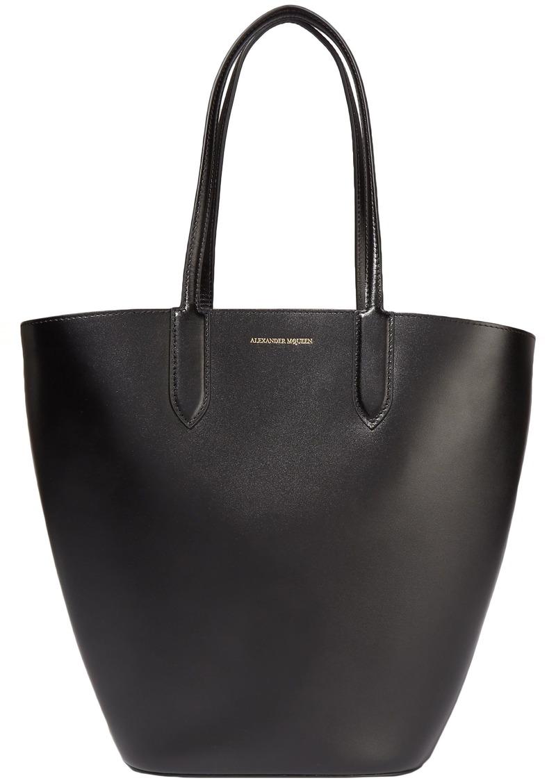 Alexander Mcqueen Woman Basket Leather Tote Black