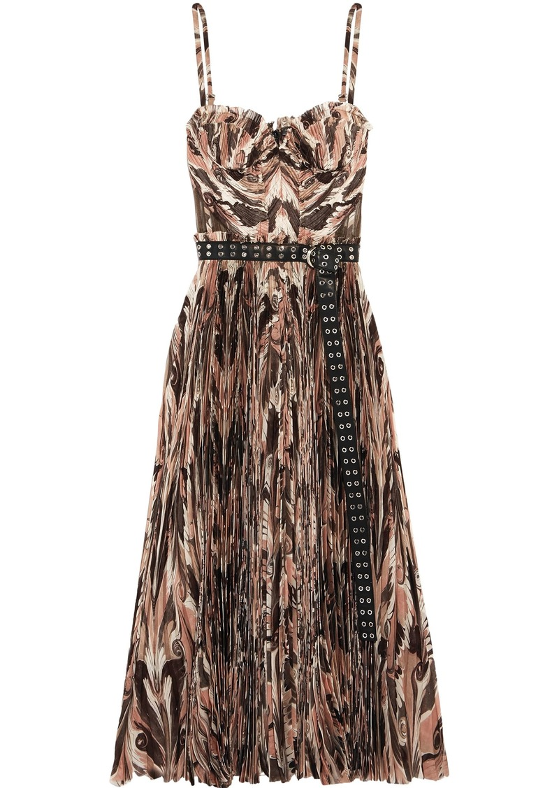 Alexander Mcqueen Woman Belted Printed Plissé Silk Crepe De Chine Midi Dress Taupe