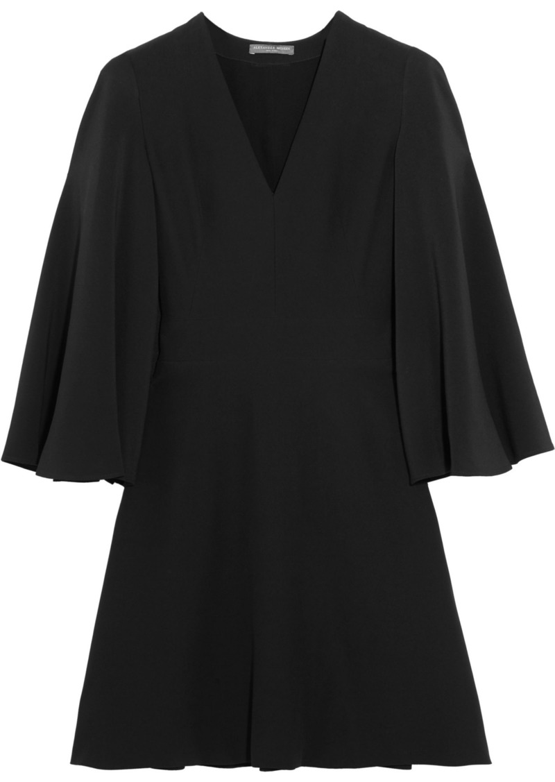 Alexander Mcqueen Woman Cape-back Crepe Mini Dress Black