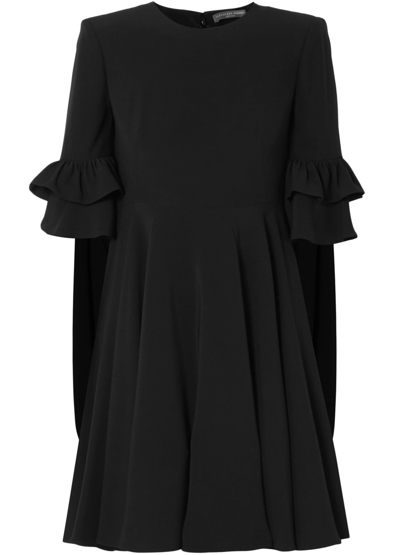Alexander Mcqueen Woman Cape-effect Ruffle-trimmed Crepe Mini Dress Black