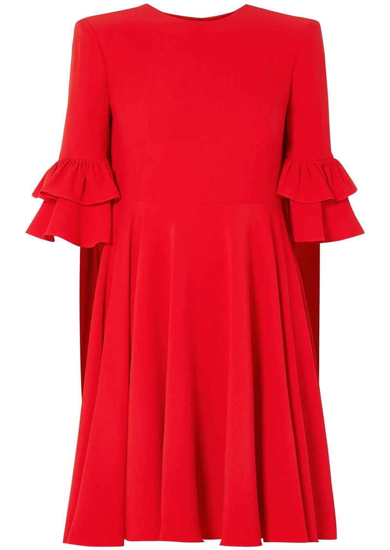 Alexander Mcqueen Woman Cape-effect Ruffle-trimmed Crepe Mini Dress Red