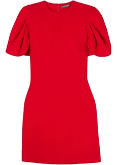 Alexander Mcqueen Woman Cape-effect Wool-blend Crepe Mini Dress Red
