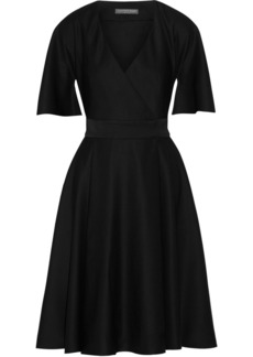 Alexander Mcqueen Woman Cape-sleeve Grain De Poudre Wool Wrap Dress Black