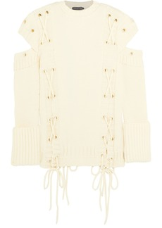 Alexander Mcqueen Woman Cold-shoulder Lace-up Wool Sweater Ivory