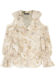 Alexander Mcqueen Woman Cold-shoulder Ruffled Floral-print Silk Blouse Ivory