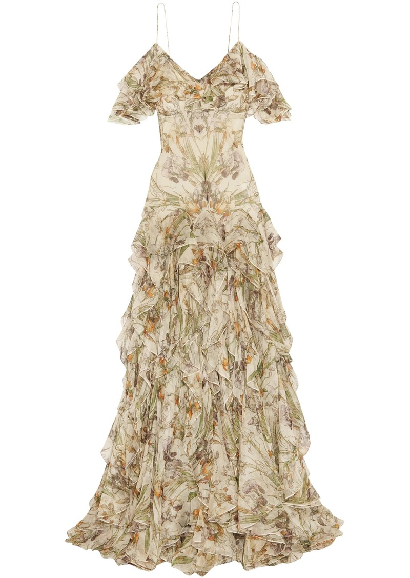 Alexander Mcqueen Woman Cold-shoulder Ruffled Floral-print Silk-georgette Gown Ivory