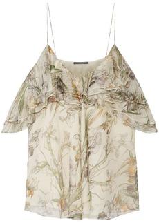 Alexander Mcqueen Woman Cold-shoulder Ruffled Floral-print Silk-georgette Top Cream