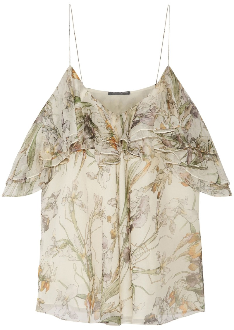 Alexander Mcqueen Woman Cold-shoulder Ruffled Floral-print Silk-georgette Top Cream