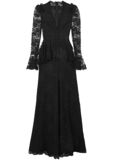 Alexander Mcqueen Woman Cotton-blend Lace Peplum Gown Black